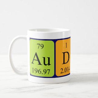 Audreyの周期表の名前のマグ コーヒーマグカップ