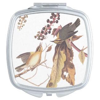 Audubonのみみず食べ物のアメリカムシクイのコンパクトの鏡