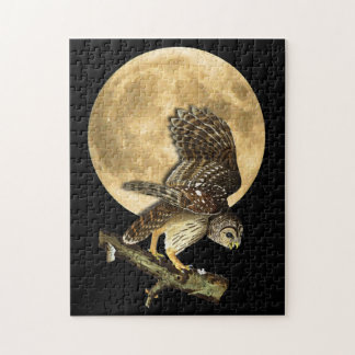 Audubonのアメリカフクロウ及び月のハロウィンのギフトのパズル ジグソーパズル