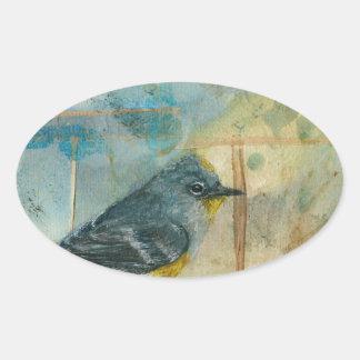 Audubonのアメリカムシクイ 楕円形シール