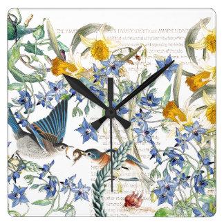 Audubonのブルーバードの鳥のスイセンの花の柱時計 スクエア壁時計