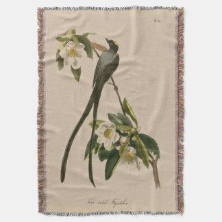 Audubonのヴィンテージの花の鳥によってフォーク後につかれるFlycatcher スローブランケット