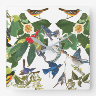 Audubonの鳥の花の野性生物の柱時計 スクエア壁時計
