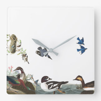 Audubonの鳥の野性生物動物のコラージュの柱時計 スクエア壁時計