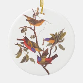 Audubonの鳥絵を描かれたバントの五人家族 セラミックオーナメント