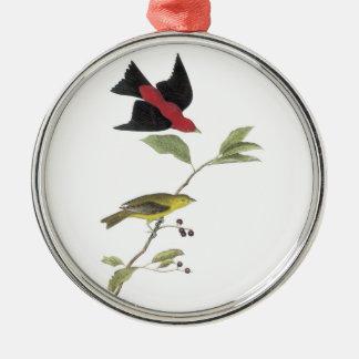 Audubon著深紅フウキンチョウ族 メタルオーナメント