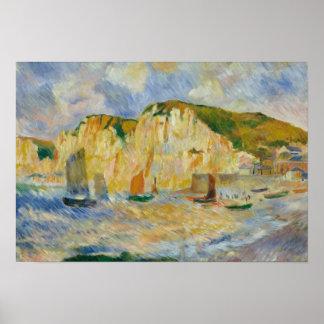 Augusteルノアール-海および崖 ポスター