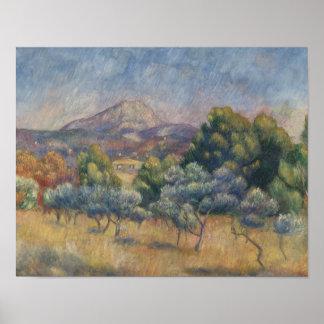 Augusteルノアール- Sainte-Victoire山 ポスター