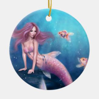 Aureliaの金魚の人魚の円形の陶磁器のオーナメント セラミックオーナメント