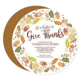 Autmnのリースは感謝の感謝祭の夕食を与えます カード