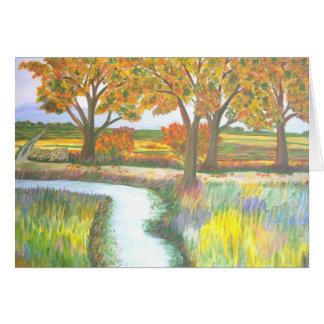 autumn湖の水彩画によるBachの木 カード