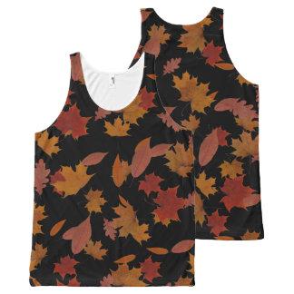 Autumn Falling Leaves on Custom Black オールオーバープリントタンクトップ