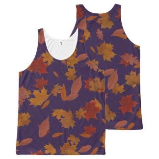 Autumn Falling Leaves on Custom Blue オールオーバープリントタンクトップ
