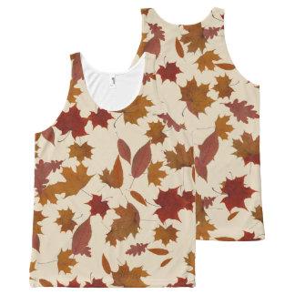 Autumn Falling Leaves on Custom Cream オールオーバープリントタンクトップ