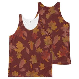 Autumn Falling Leaves on Custom Wine Red オールオーバープリントタンクトップ