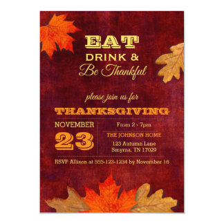 Autumn Leaves Eat Drink and Be Thankful Invitation カード