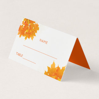Autumn Maple Leaves Wedding プレイスカード