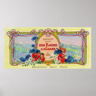AuzのフルーアのDアルザスの石鹸LabelParis、フランス ポスター