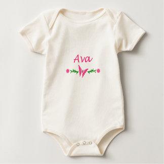Ava (ピンクの蝶) ベビーボディスーツ