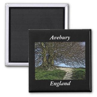 Avebury、ウィルトシャー、イギリス。 木および道 マグネット