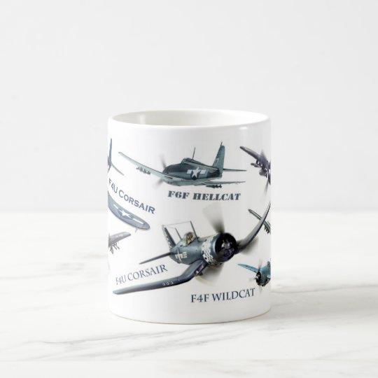 "Aviation Art Mug "" American warplane of WWII"" コーヒーマグカップ"