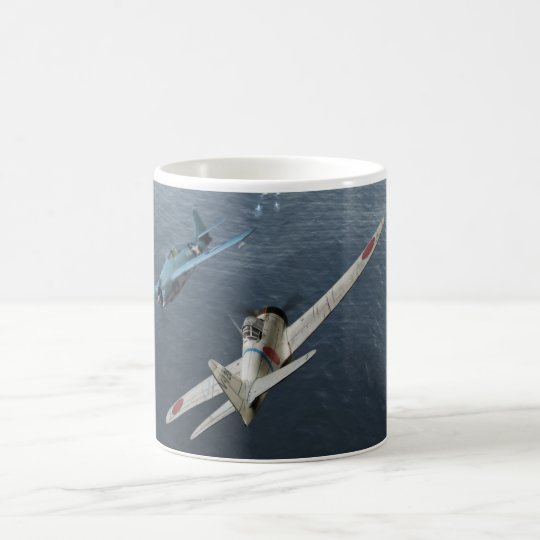 "Aviation Art Mug ""Zero Fighter Sky Samurai"" コーヒーマグカップ"