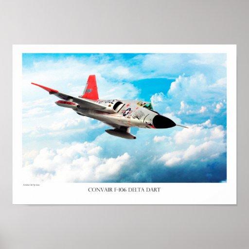 "Aviation Art Poster ""Convair F-106 Delta Dart"" ポスター"