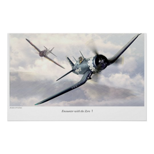 "Aviation Art Poster ""F4U Corsair"" ポスター"