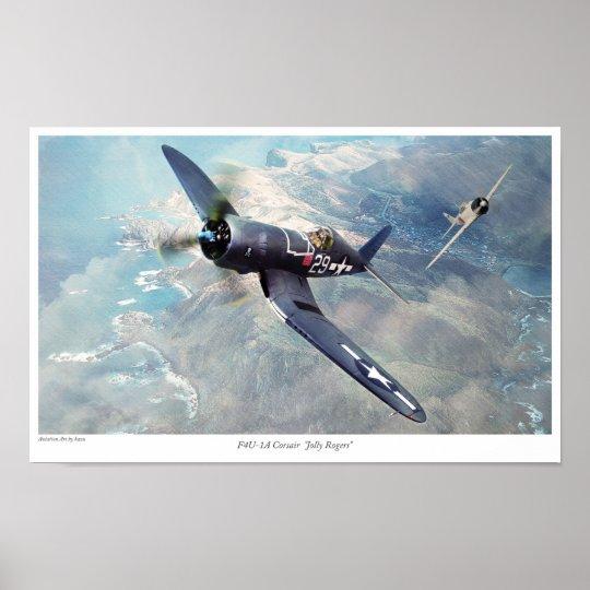 "Aviation Art Poster ""F4U Corsair "" ポスター"