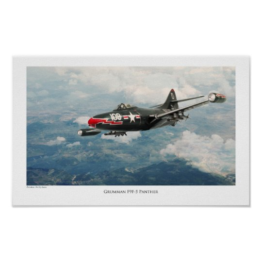 "Aviation Art Poster ""F9F Panther"" ポスター"
