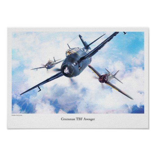 "Aviation Art Poster ""Grumman TBF Avenger"" ポスター"