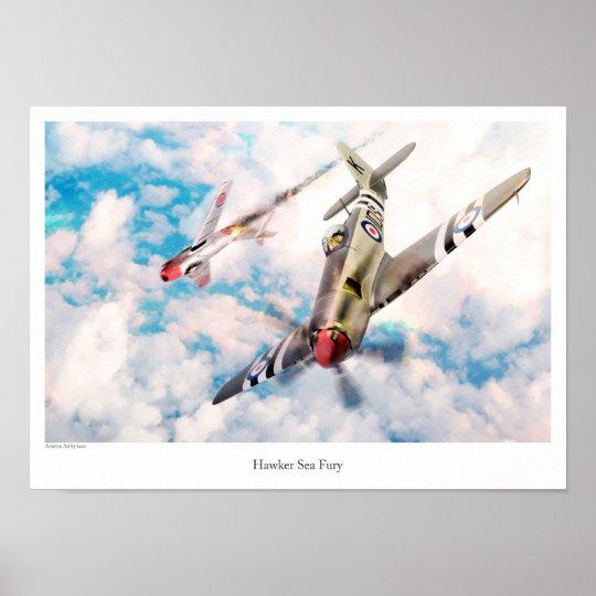 "Aviation Art Poster ""Hawker Sea Fury"" ポスター"