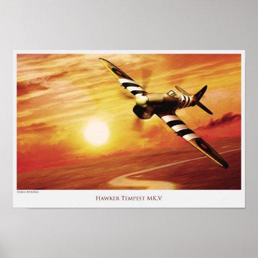 "Aviation Art Poster ""Hawker Tempest MK.V "" ポスター"