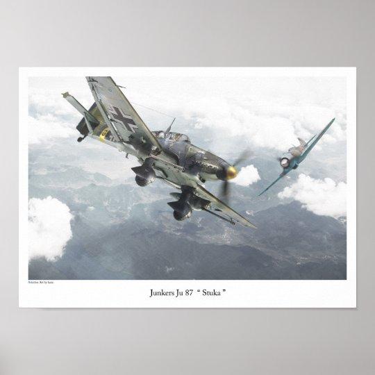 "Aviation Art Poster ""Junkers Ju 87 Stuka "" ポスター"