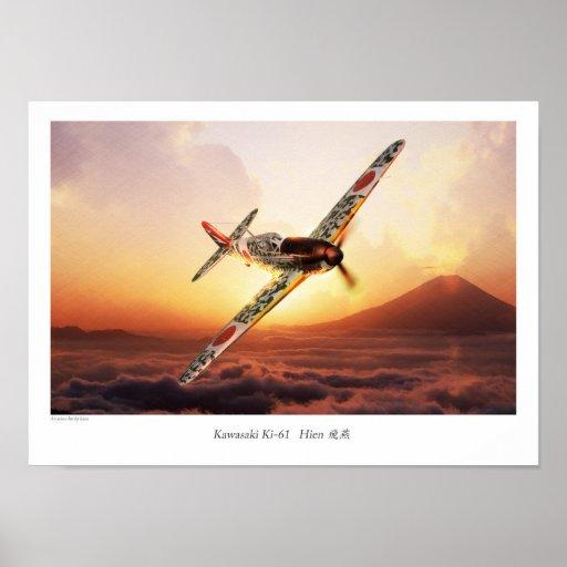 "Aviation Art Poster ""Kawasaki Ki-61"" ポスター"