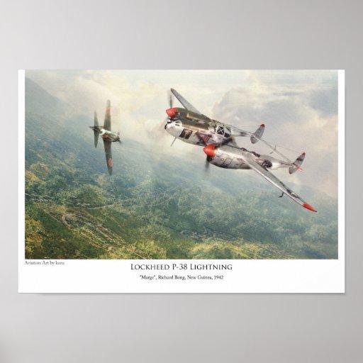 """aviation Art Poster """"Lockheed P-38 Lightning """" ポスター"""