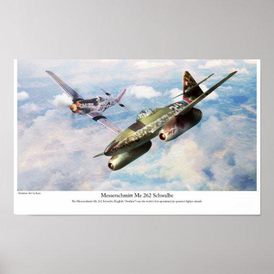 """Aviation Art Poster """"Messerschmitt Me 262"""" ポスター"""