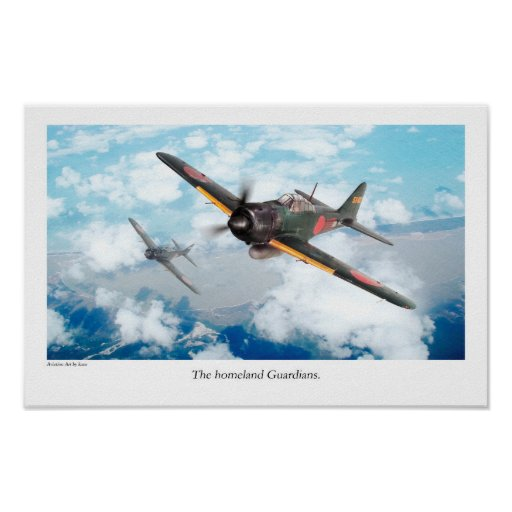 "Aviation Art Poster ""Mitsubishi A6M Zero"" ポスター"