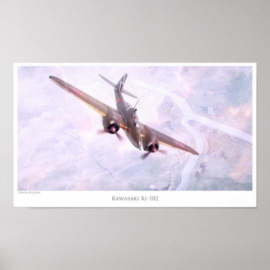 "Aviation Art Poster ""Nakajima Ki-102 "" ポスター"