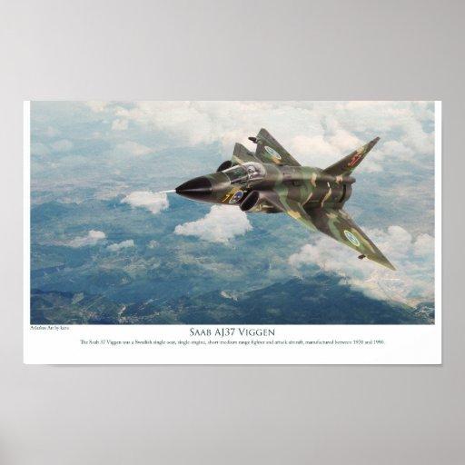 """Aviation Art Poster """"Saab AJ37 Viggen"""" ポスター"""