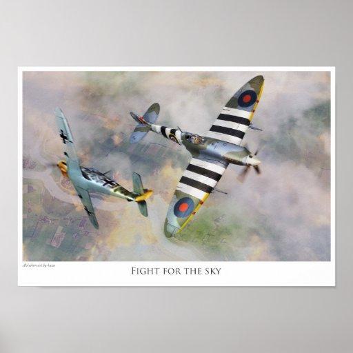 "Aviation art Poster ""Spitfire vs BF109"" ポスター"