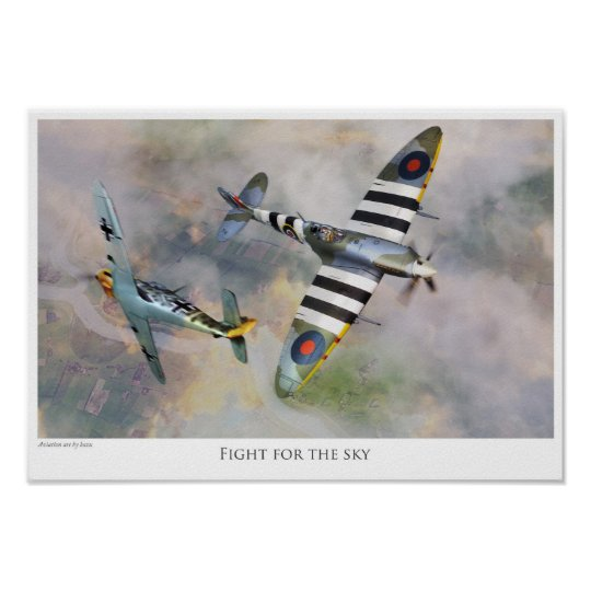 "Aviation art Poster ""Spitfire vs BF109"" ポスター"