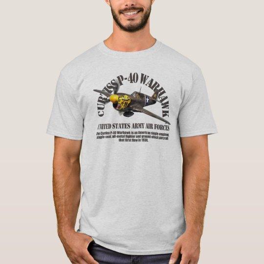 "Aviation Art T-shirt ""Curtiss P-40 Warhawk"" Tシャツ"