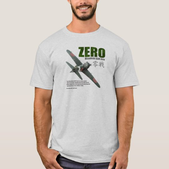 """Aviation Art T-shirt """"Mitsubishi A6M Zero"""" Tシャツ"""