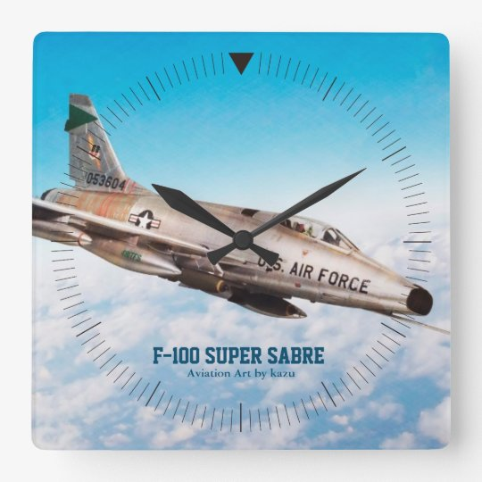 "Aviation Art Wall Clock""F-100 Super Sabre"" スクエア壁時計"