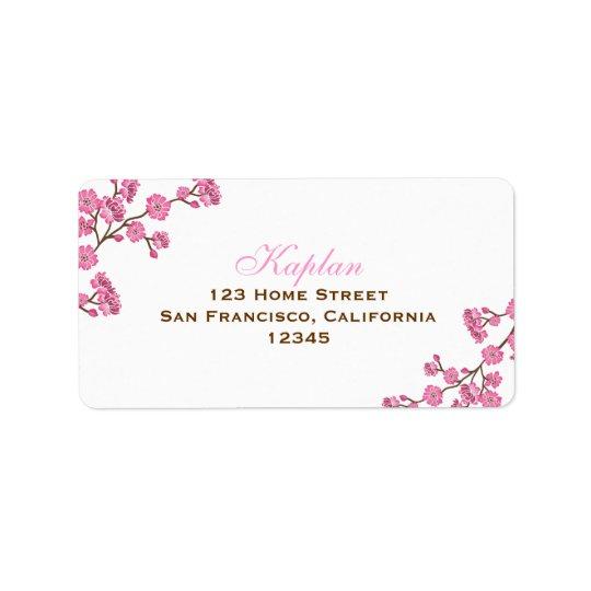 Avitalブラウンのピンクの花の宛名ラベル ラベル
