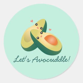 Avocuddleのおもしろいでかわいいアボカドのしゃれのユーモアは 丸型シール