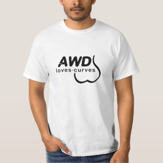 AWD愛カーブの黒の前部 Tシャツ