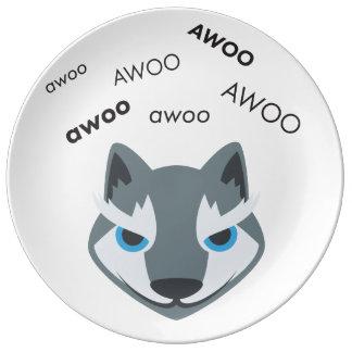 AwooのオオカミかわいいEmoji 磁器プレート
