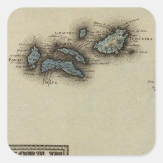 Azoreの島の地図書の地図 スクエアシール